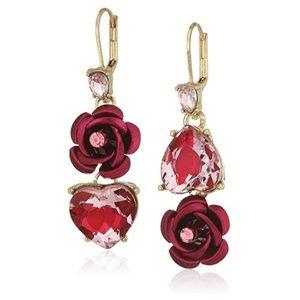 Betsey Johnson Mismatch Rose&Heart Dangle Earrings